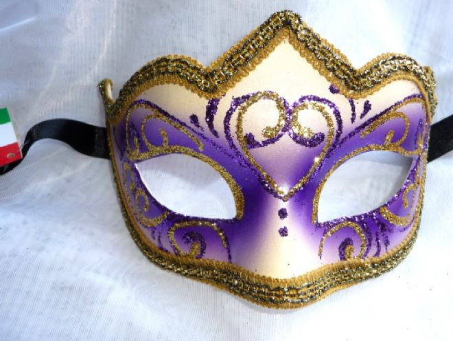 Genuine Venetian Purple & gold glitter half Mask (1)